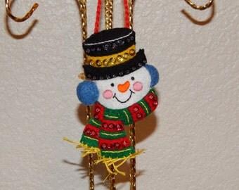 Hand Stitched 3D Felt Snowman Ornament