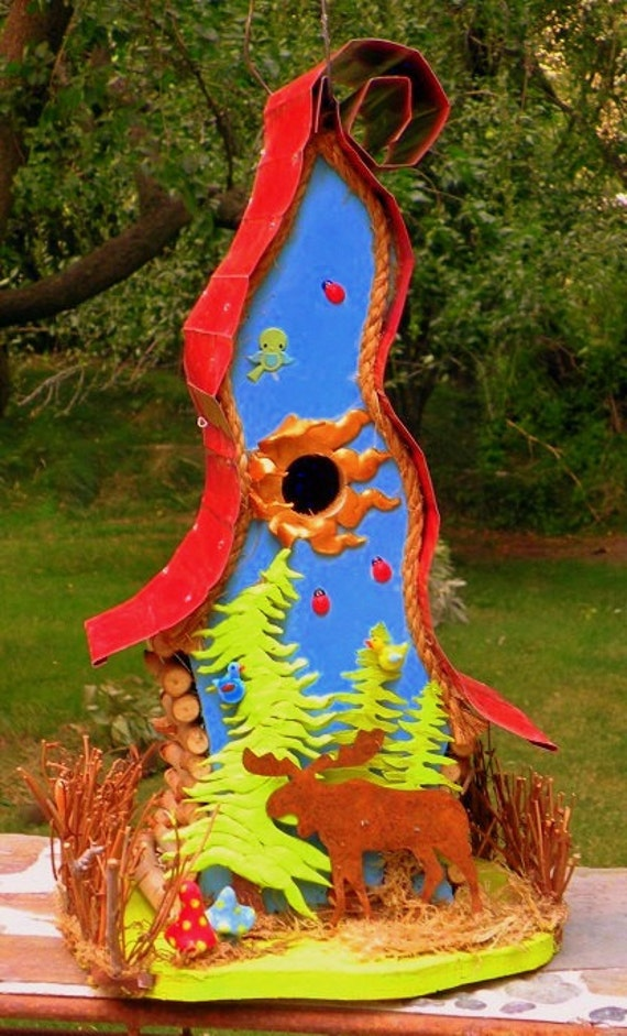 bord house, Moose, Original birdhouse, one of a kind birdhouse, original art, woodland art, OOAK, Moose in the Woods, Birdhouse