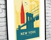 "New York, New York Skyline 8""x10"" Poster"