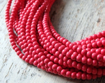 """4mm Pink howlite beads , 16"""" strand of dyed howlite beads, 4mm howlite beads, small pink howlite beads, 4mm bright pink beads, 1 strand"""