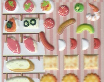 Japanese / Korean Puffy Stickers- Tasty Snack and Wine