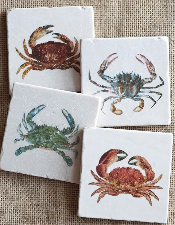 crab coasters crabs beach house decor ocean sea life