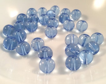 8mm Blue Glass Beads, Loose Beads, Jewelry supplies, beading supplies, diy,