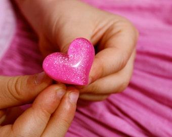 Pink Glitter Heart Ring By MillyPops - Kawaii, Fairy Kei, Princess, Lolita, Kitsch, Love