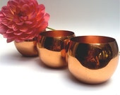 Vintage copper roly poly cocktail glasses, Coppercraft Guild USA