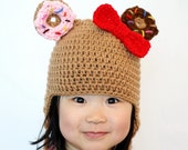 Donutella Hat, Crochet Baby Hat, Baby Hat, Donut Hat, photo prop, Inspired by Tokidoki Donutella