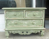 Vintage Green Dresser, Nice Dresser, Antique Bedroom Dresser,Dresser -Chest Gabinets & Storanges,Green Painting Furniture.