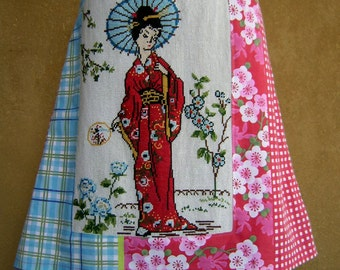 Geisha embroidery skirt, upcycle, A-line skirt, phone pocket, lined, chinoiserie, flowers, check, pink blue white red, size Large