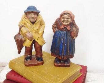 Vintage Composition Figures- Old Man & Woman
