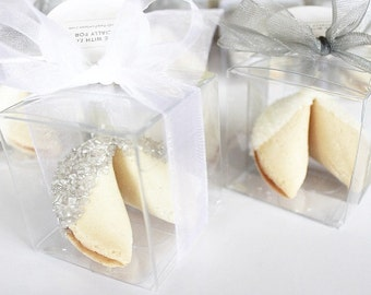 50 Silver and White Wedding Sugar Fortune Cookies Party Favors Individually Boxed