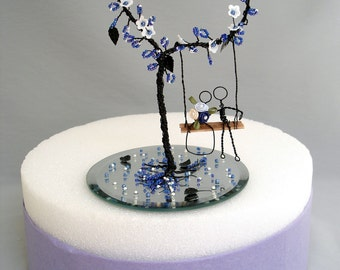 Wire Heart Bead Tree Wedding Cake Topper - Made To Order