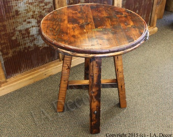 Reclaimed Wood Round accent table - Wine Barrel Chestnut Band- Green Inlay- Last One! Beautiful!