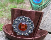 Mini Steampunk Hat (brown with amber pendant)
