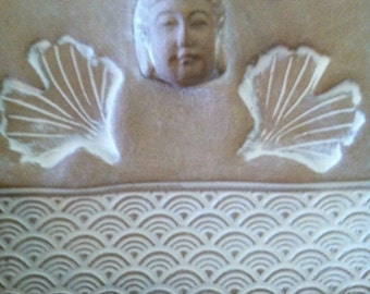 Natural Whitewashed Buddha Tile, Ceramic Buddha Tile, Buddha Home Decor, ceramic ginkgo, Asian home decor