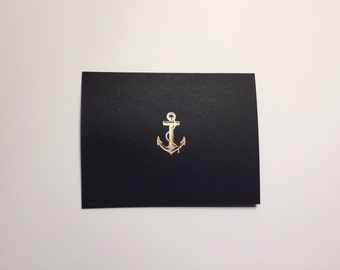 Nautical Anchor Card in black, made to order
