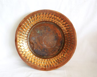Antique primitive bowl hand wrought copper, Hammered, triangular motif, simplistic, Home decor, vintage houseware, display, old trinket tray