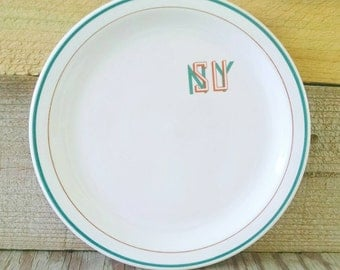 Mayer China Restaurant Ware SUNY State University New York Ivory Plate Brown and Green Dish
