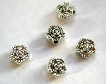 5 Antique Silver Flower Beads