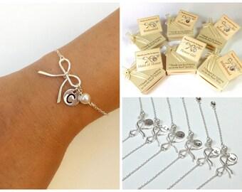 Free Shipping. Set of 6 personalized sterling silver bow bracelet. bridesmaids bracelet,  monograme bracelet