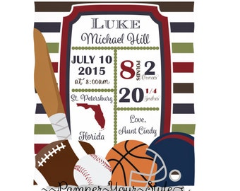 Sports baby Blanket - Birth Announcement Blanket  Design Your Own Blanket - Baby Blanket - Throw Blanket - Personalized Blanket