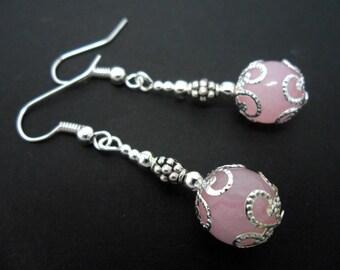A pair of pretty pink jade  bead  dangly earrings.