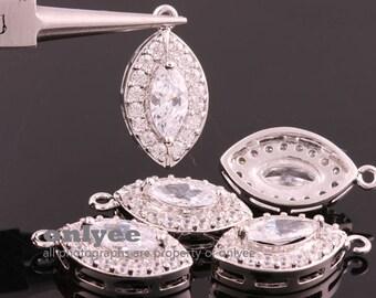2pcs-21mmX12mmRhodium plated (clear)LUX Cubic zirconiaCZ marquise charms, pendants, fine jewelry designs,wedding jewelry(K011S)