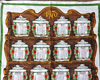Vintage 1976 Linen Calendar Tea Towel German French Pantry Spice Jar