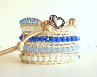 Leather Wrap Bracelet, 5 wrap bracelet, sapphire blue bracelet, blue and white bracelet, boho bracelet, spring trends 2018, beach bracelet