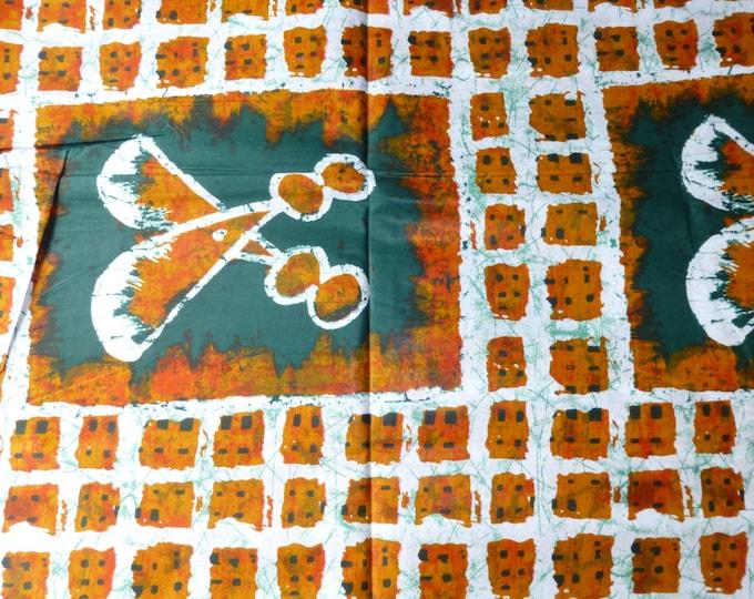 African Fabrics  Cotton Batiki Wax Prints MultiColoured  Sold By Yard