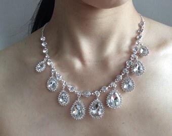 Sparkle teardrops wedding bridal rhinestones crystal chandelier jewelry set, wedding jewelry, rhinestones necklace, bridal necklace, earring