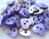 10mm Violet Heart Shape Shell Buttons Pack Of 20 Purple Shell Buttons S37