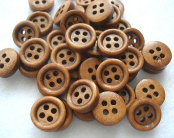 11mm Plain Wood Buttons Brown Buttons Pack of 25 Small Brown Buttons W1102