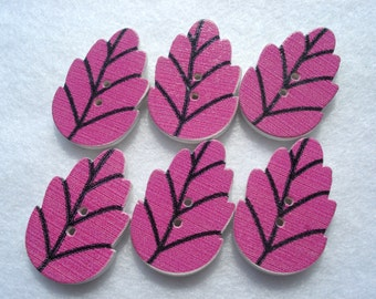 30mm Wood Buttons Large Leaf Shape Button Dark Pink Pack of 6 Leaf Buttons WW3040mixF