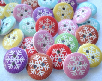 15mm Wood Buttons Pastel Print Snowflake Christmas Snowflake Buttons Pack of 20 CR23