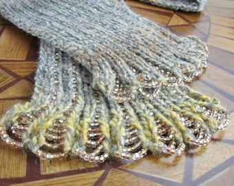 Scalloped Beaded Scarf Variegated Acrylic Yarn Glass Seed Beads