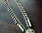 Antique Vtg 40's 50's HUGE gypsy Afghan Kuchi silver tone Paisley amulet dangle ceremonial statement necklace / pendant