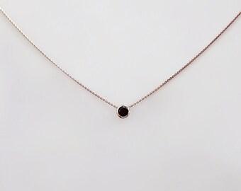 Black diamond .15 carats gold necklace