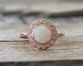 Opal Milgrain Diamond Halo Ring in 14K Rose Gold