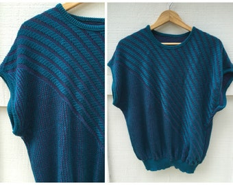 SALE>>>80's Aqua & Purple Asymmetrical Knit Sweater // Women's Size Medium