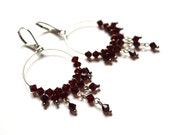Bohemian garnet red earrings, silver hoop earrings, boho earrings, ethnic earrings.