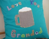 Personalised cushion cover - Grandparents, Mother, Grandmother, Grandad - Hand stitched