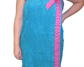 College towel wrap- graduation gift - towel wrap - graduation - plus size - monogrammed towel wrap - spa wrap - bridesmaids gift - bath wrap