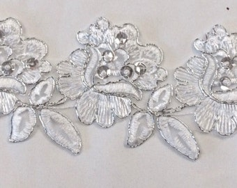 "Item: B1805D3S, 2 Yards, 2"" Beautiful Beaded, Corded, and Sequined Flower Trim, FREE Shipping"