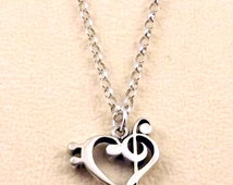 Sterling Silver Bass & Treble Clef Heart Charm on a Sterling Silver Rolo Necklace  - 1714