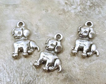 3 Pewter Sitting Puppy Charms- 5492