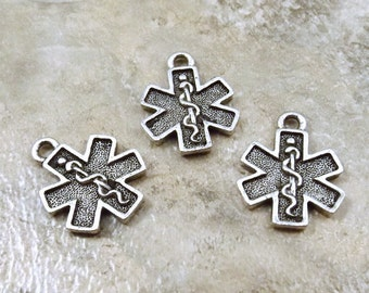 Three (3) Pewter EMT/EMS Cross Charms- 5540