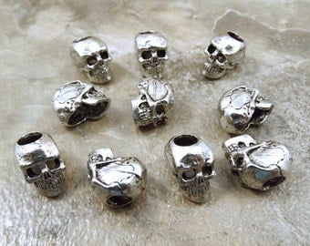 Set of 10 Pewter 12mm Skull Beads with 4.5mm Vertical Holes  - 5475