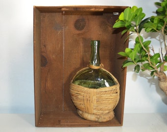 Brev Bolla Green Wine Wicker Bottle