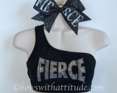 SET One Shoulder Black FIERCE Sports Bra with Matching Bow