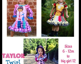 Taylor Twirl Dress - PDF Sewing Pattern Girls Upcycle Pattern Sizes 6-12m - big girl 12  Instant Download with Video Tutorials